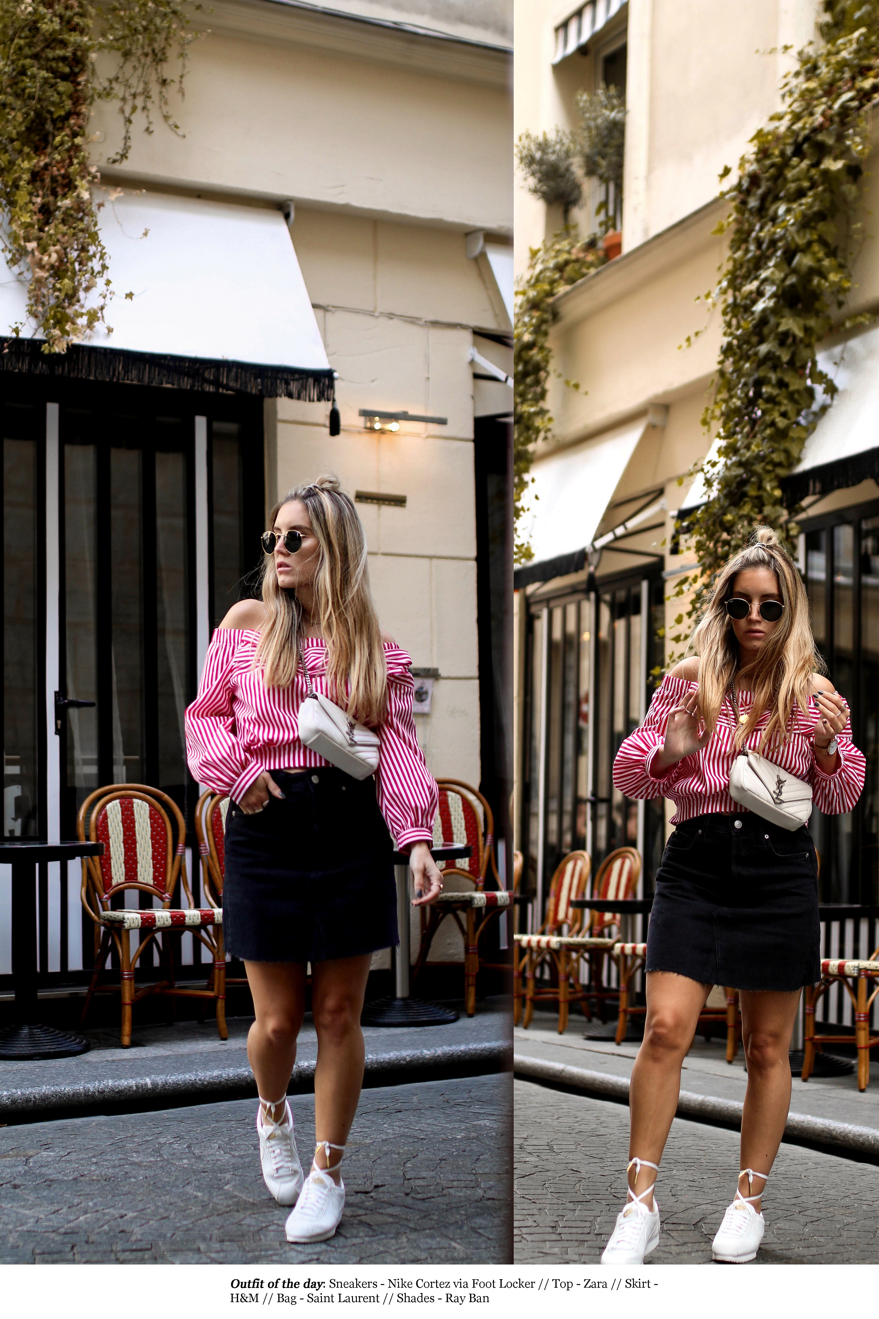 nike cortez sneakers paris streetstyle saint laurent bag fashion blog outfit pinterest