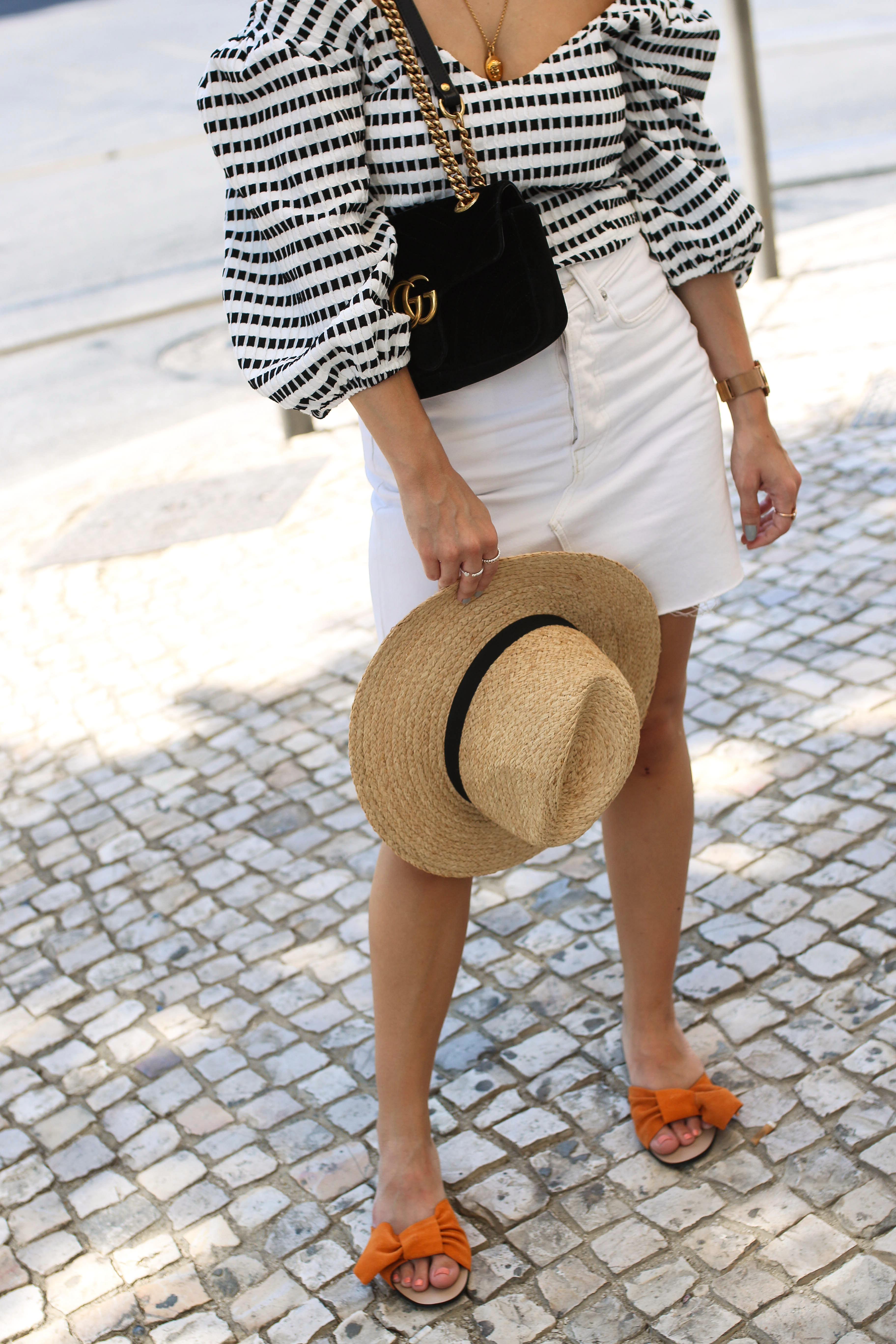 orange bow slides lisbon streetstyle gucci marmont bag fashion blog