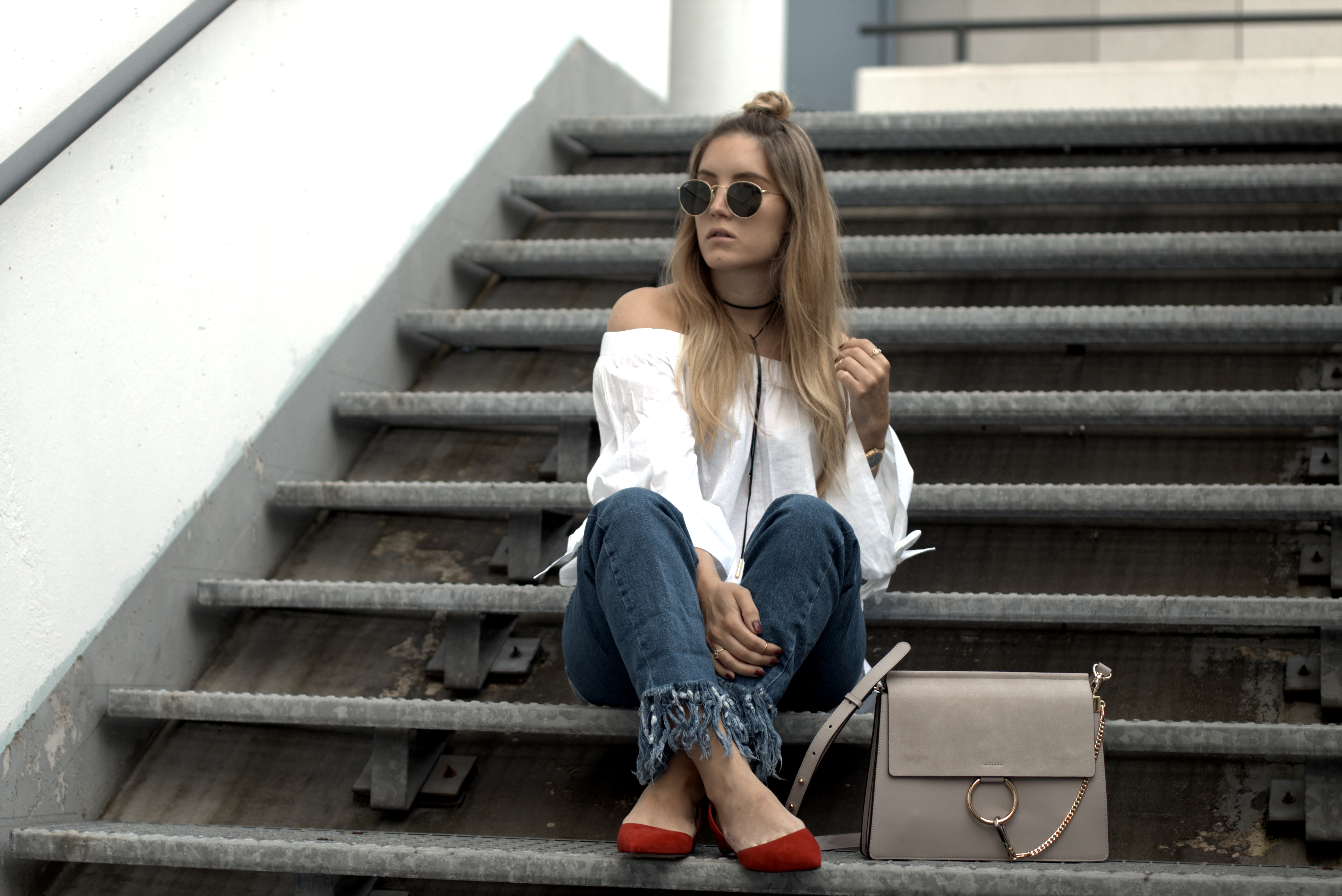 avenue32 paul andrew slingback pumps frayed denim fringed off shoulder half bun fashion blog