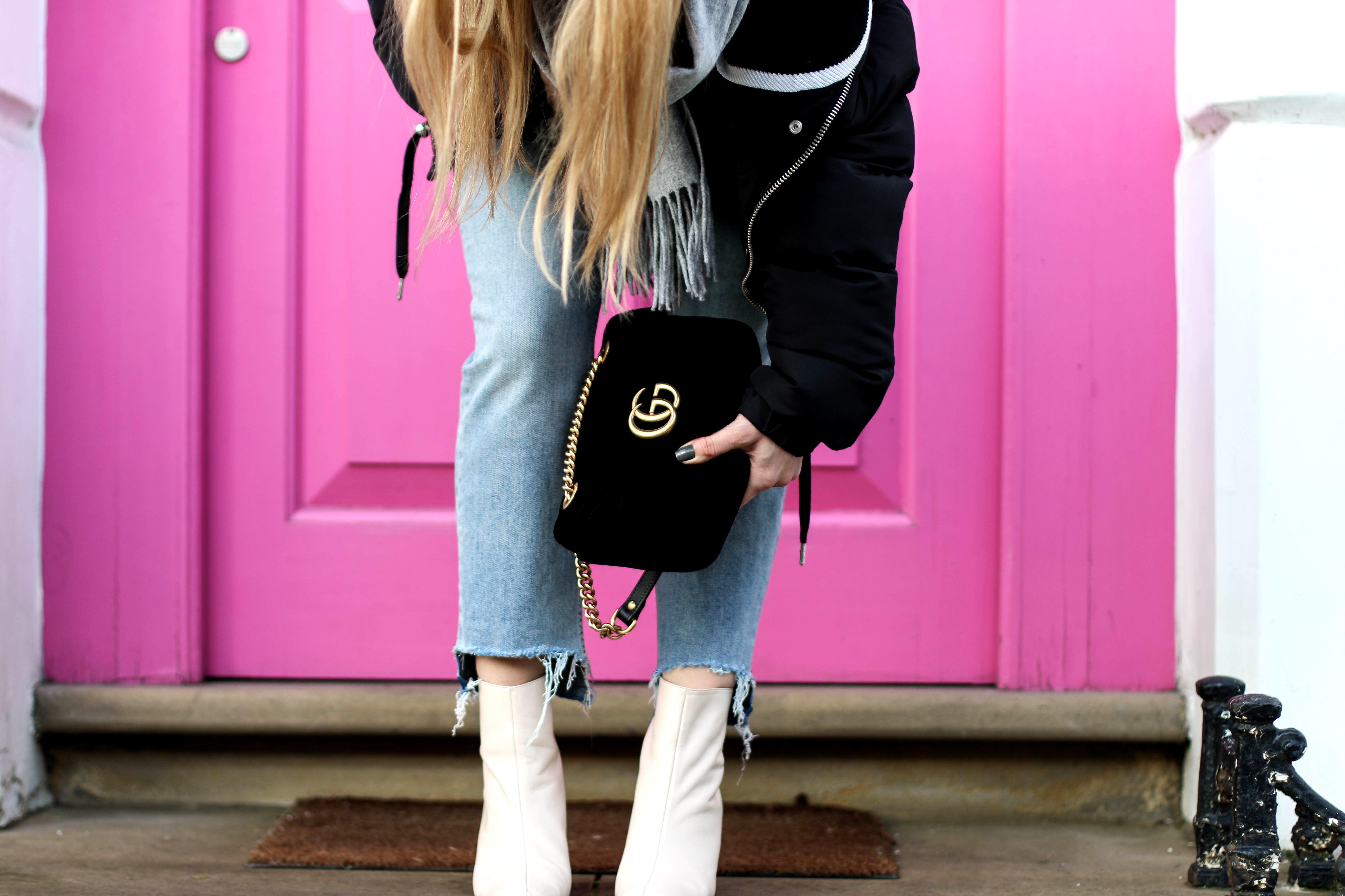 Gucci Velvet Bag Samt Tasche mom jeans pink door