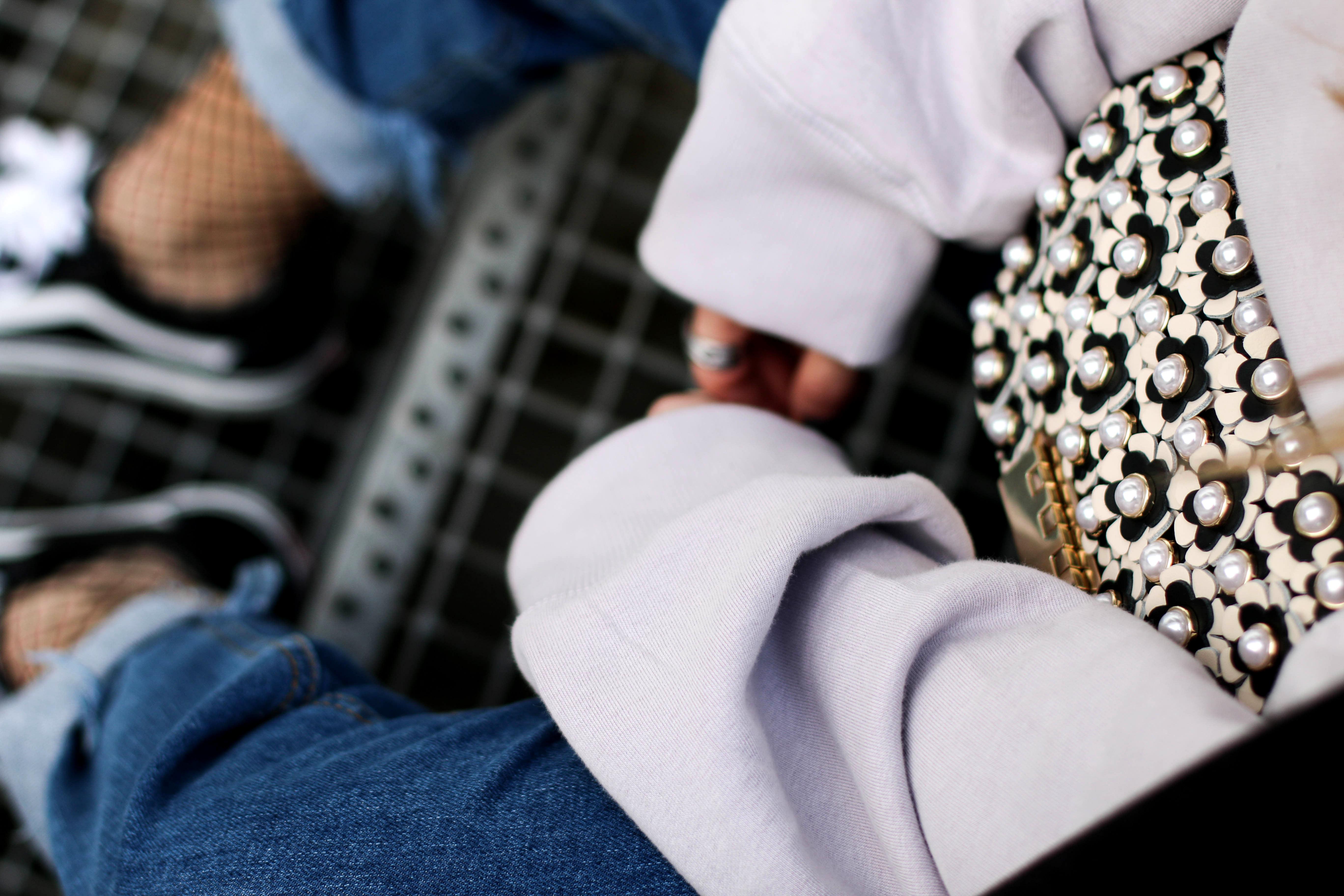 fishnets vans sneakers Zac Posen pearl bag