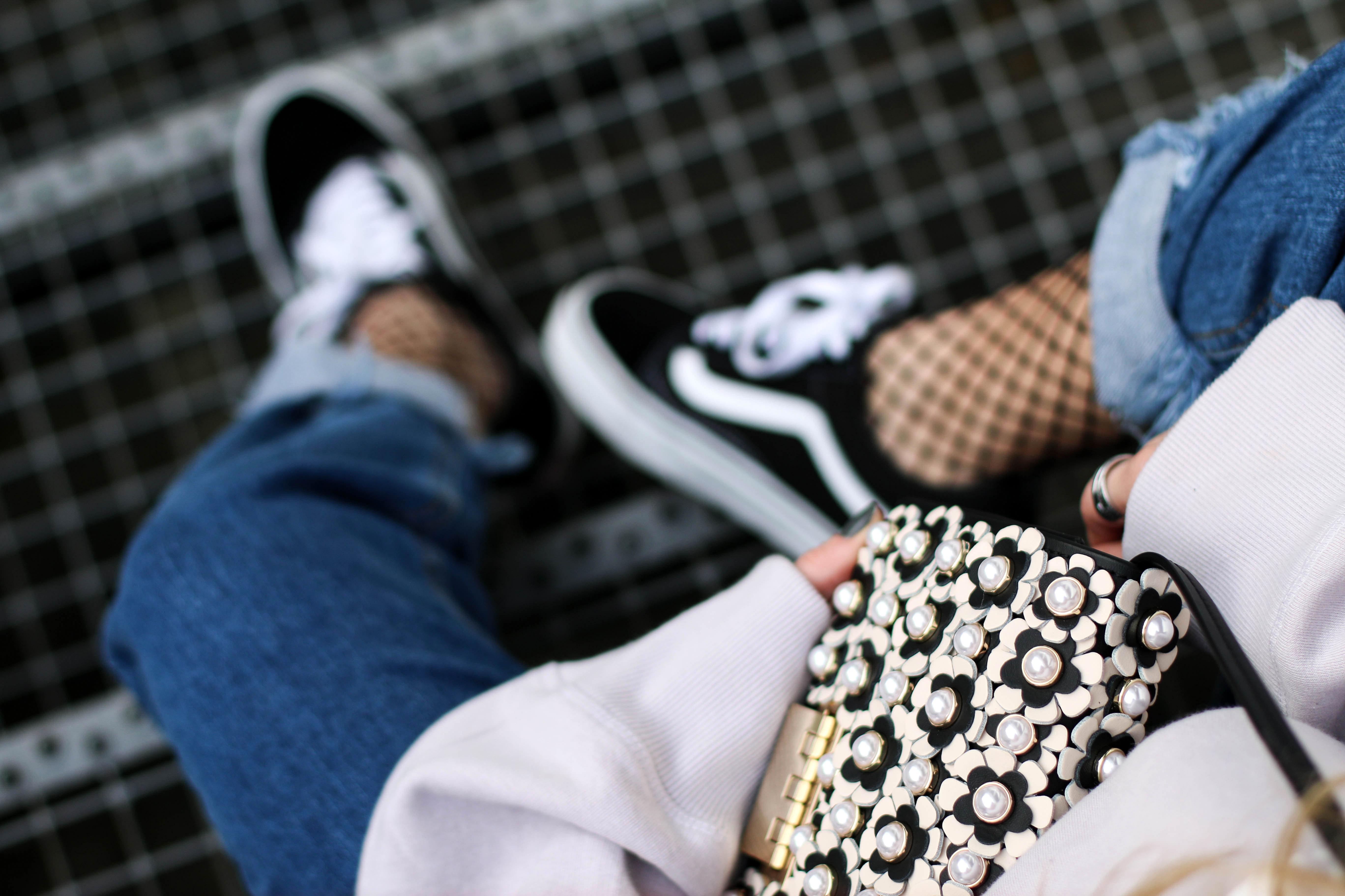 fishnets Vans sneaker Zac Posen Pearl Bag