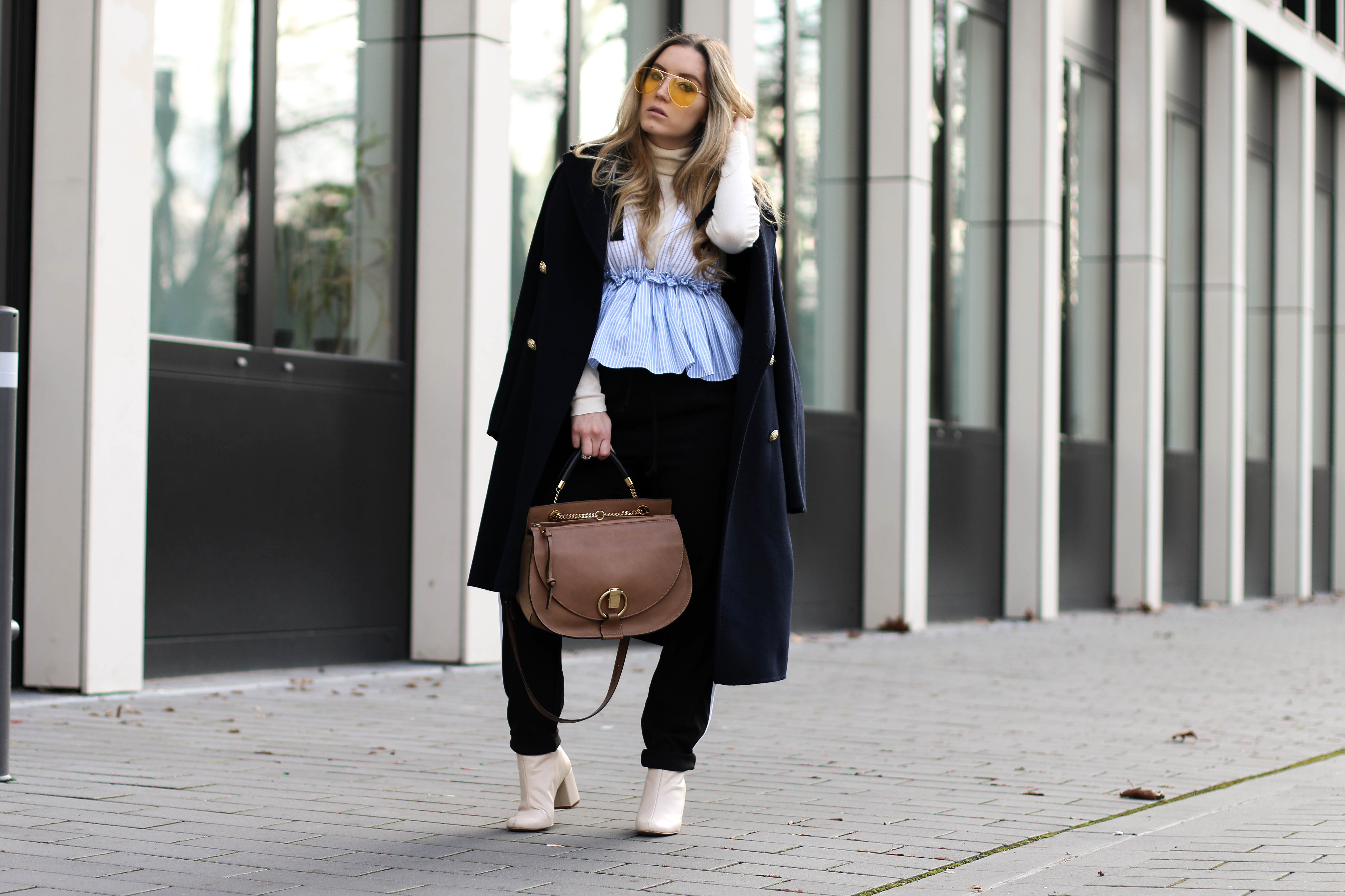 Peplum over Turtleneck Yellow Sunglasses Chloé Goldie Bag