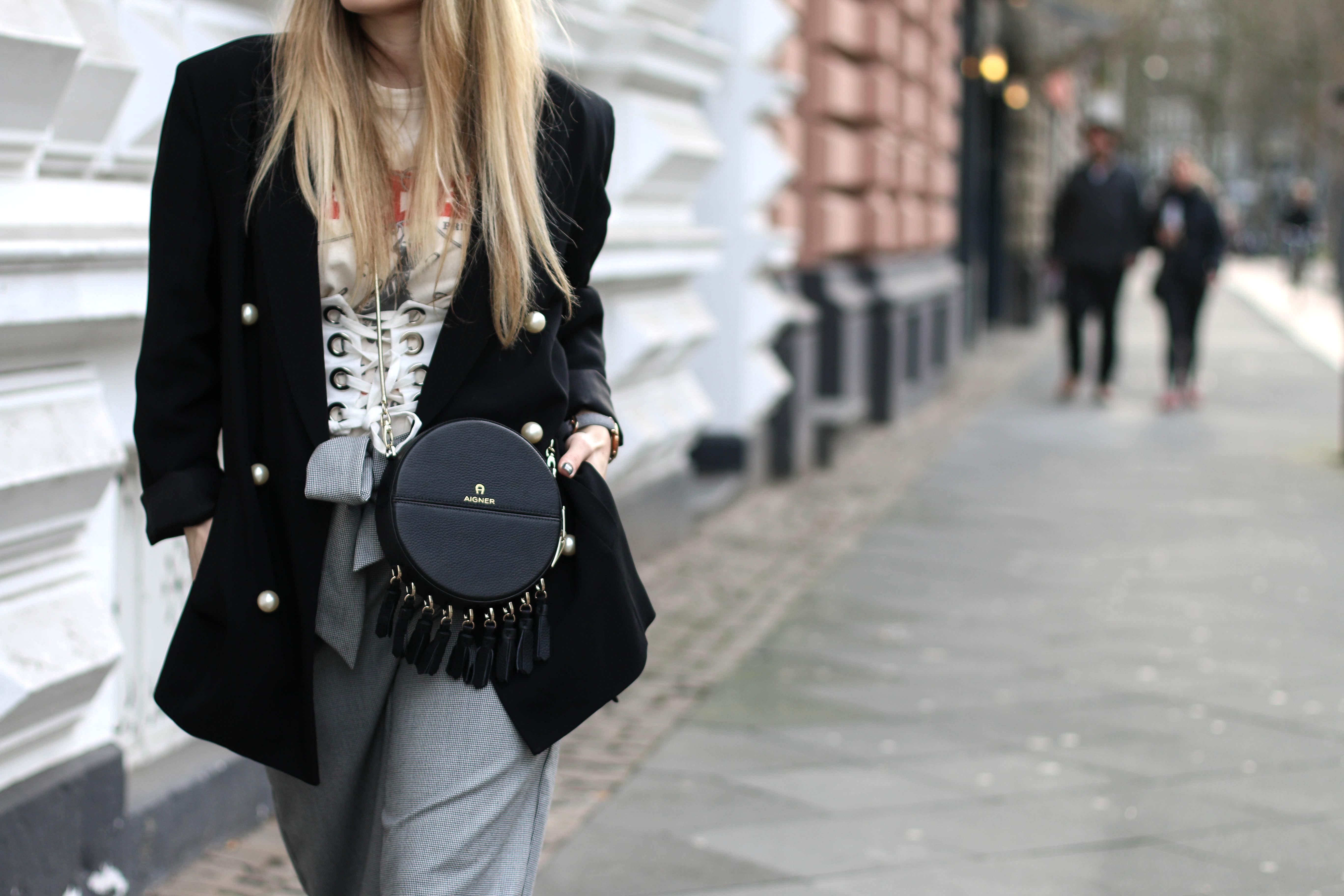 corset belt white shirt aigner bag fashion blog