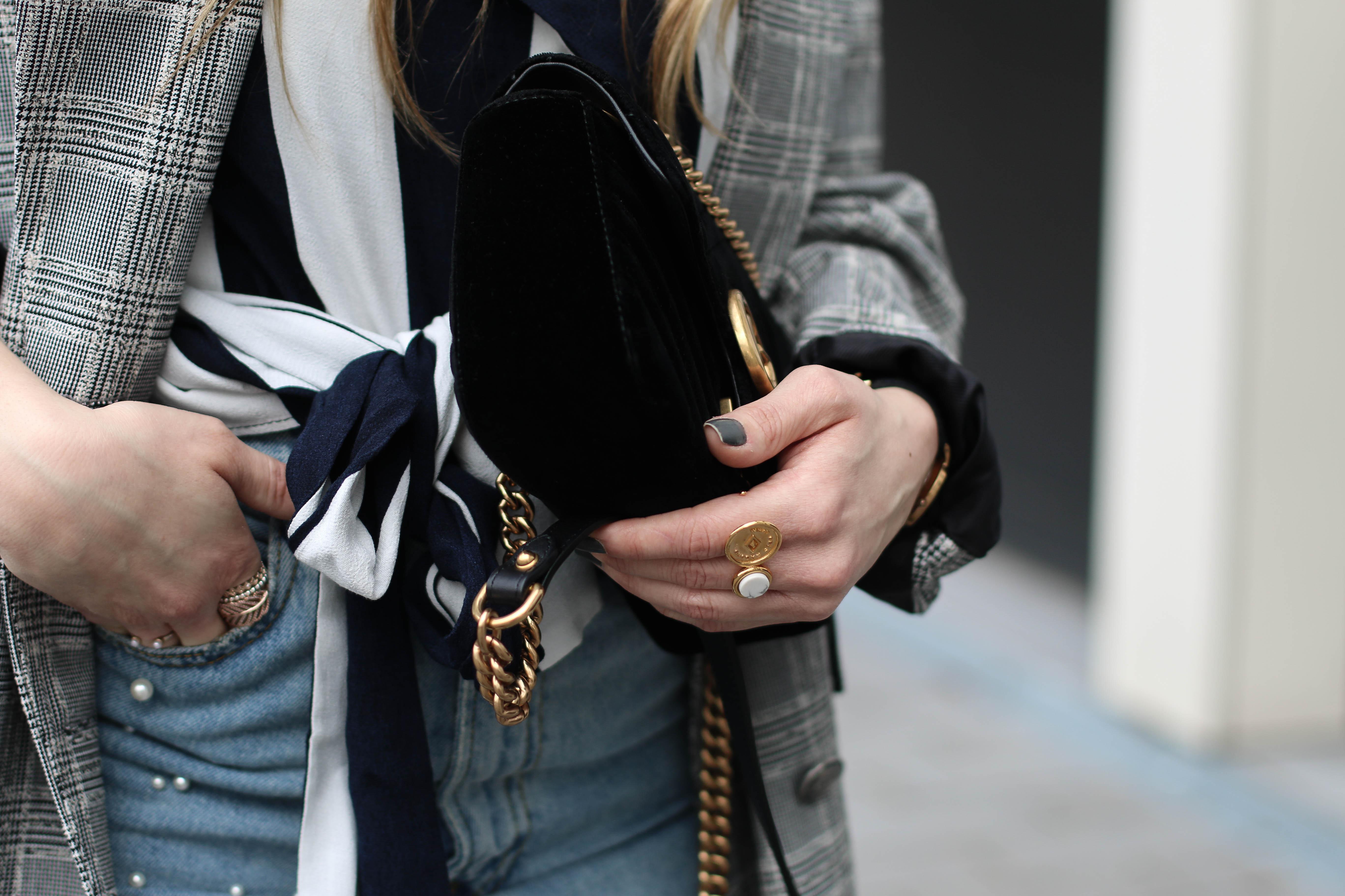gucci marmont black velvet fashion blogger
