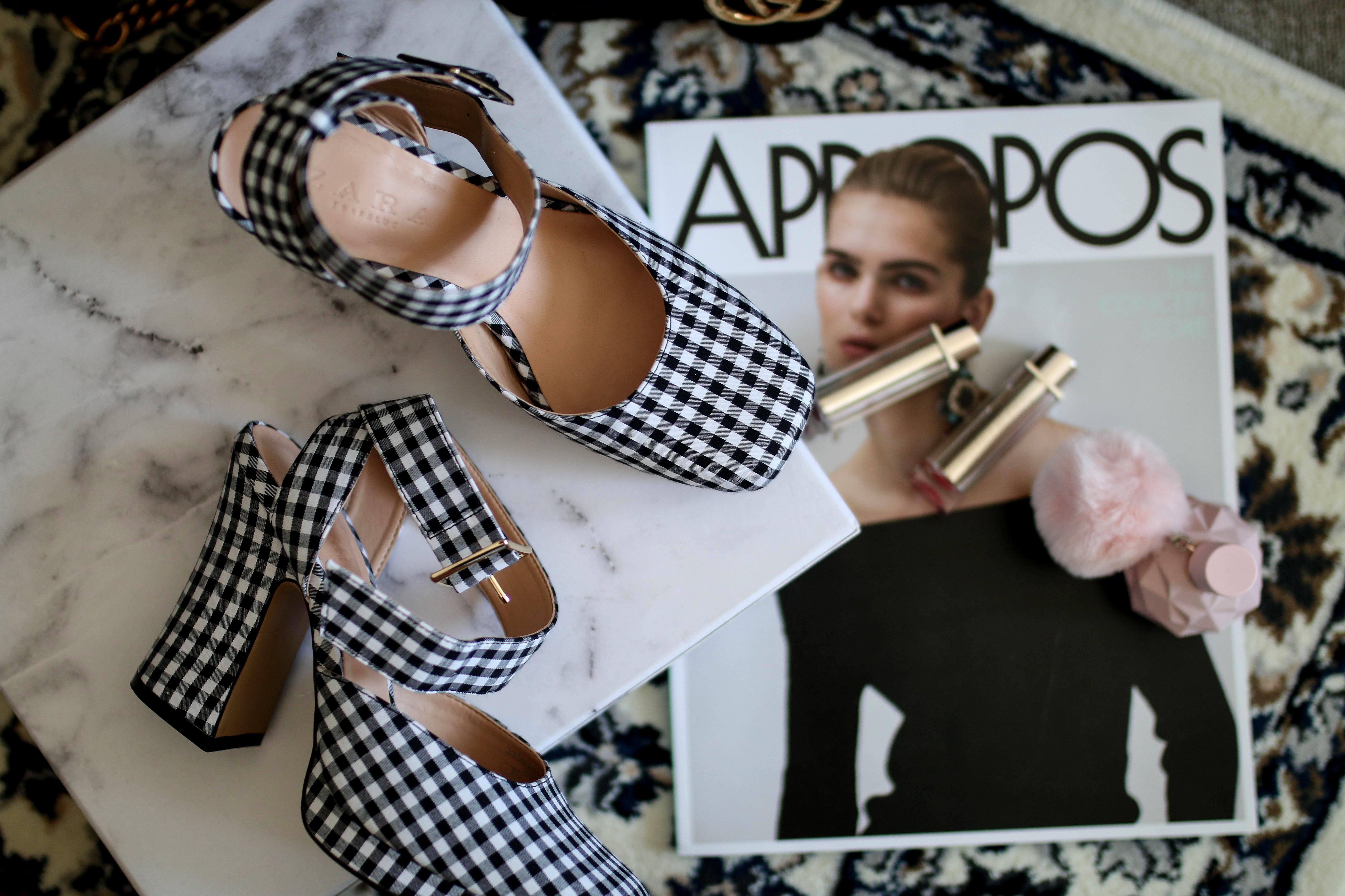 monthly favorites blogpost zara pumps vichy check shoes zara shoes