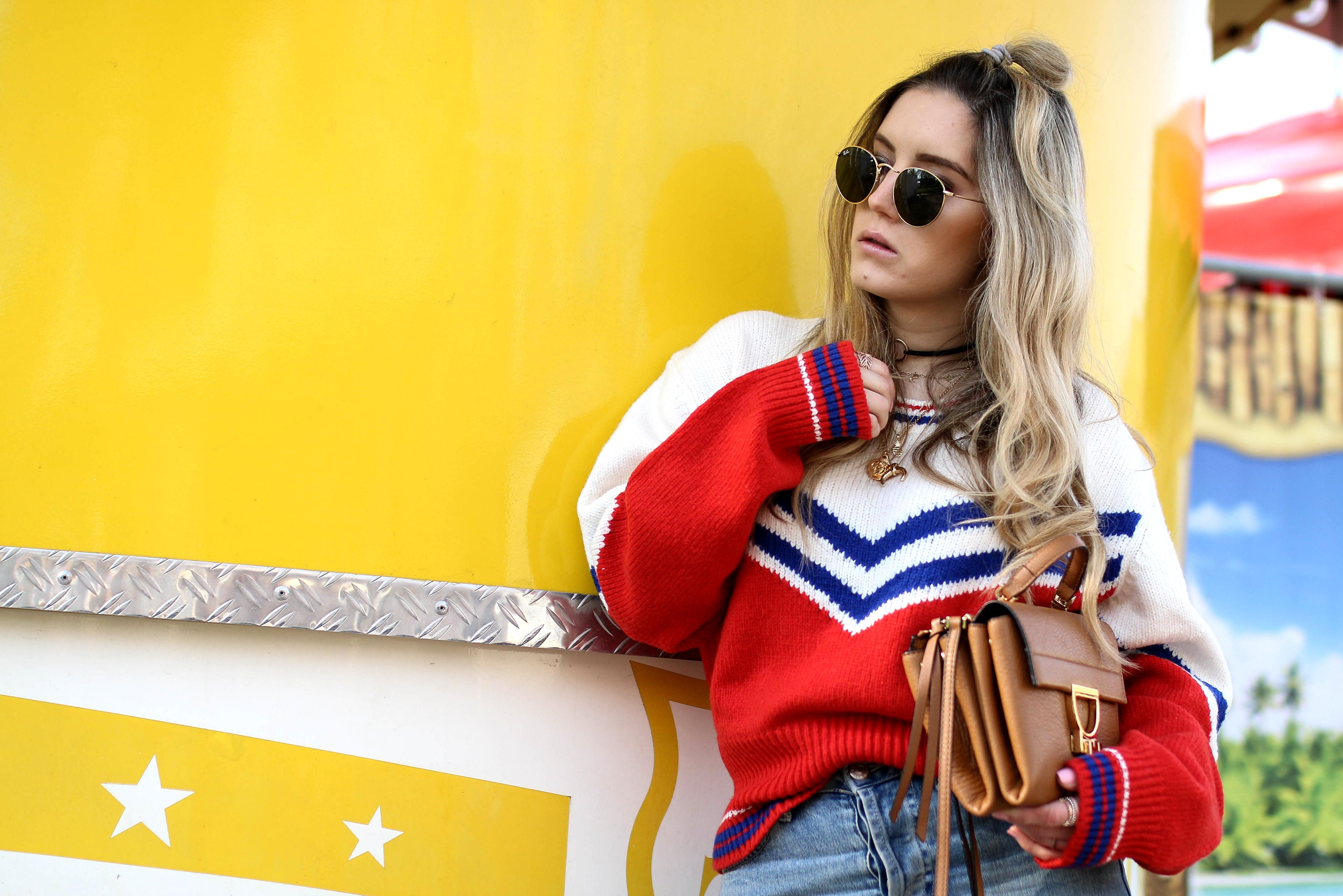 retro sweater retro jumper #storiesla fashion blog personal style blog coccinelle arlettis mini bag