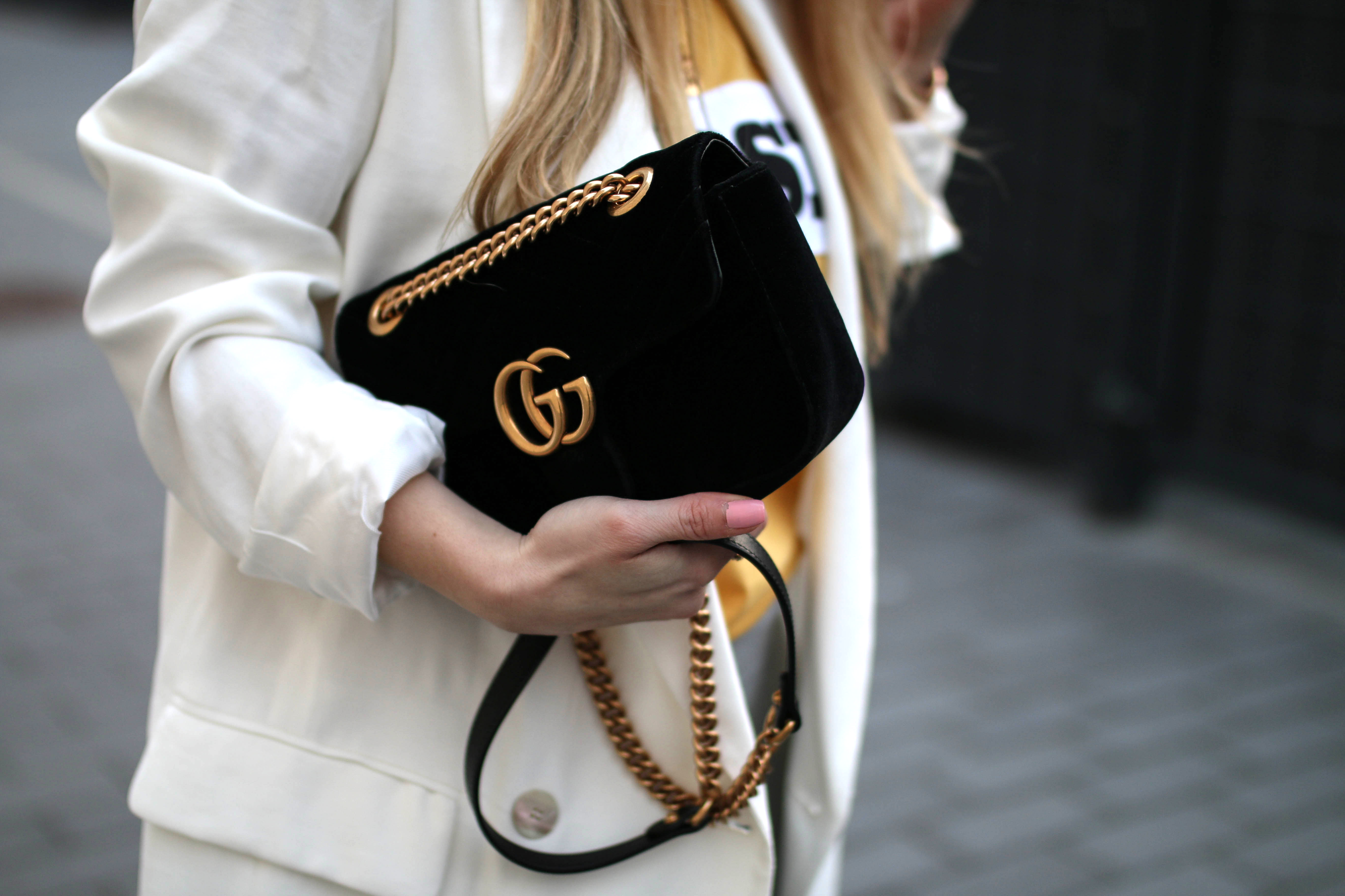 track pants gucci marmont bag outfit inspiration