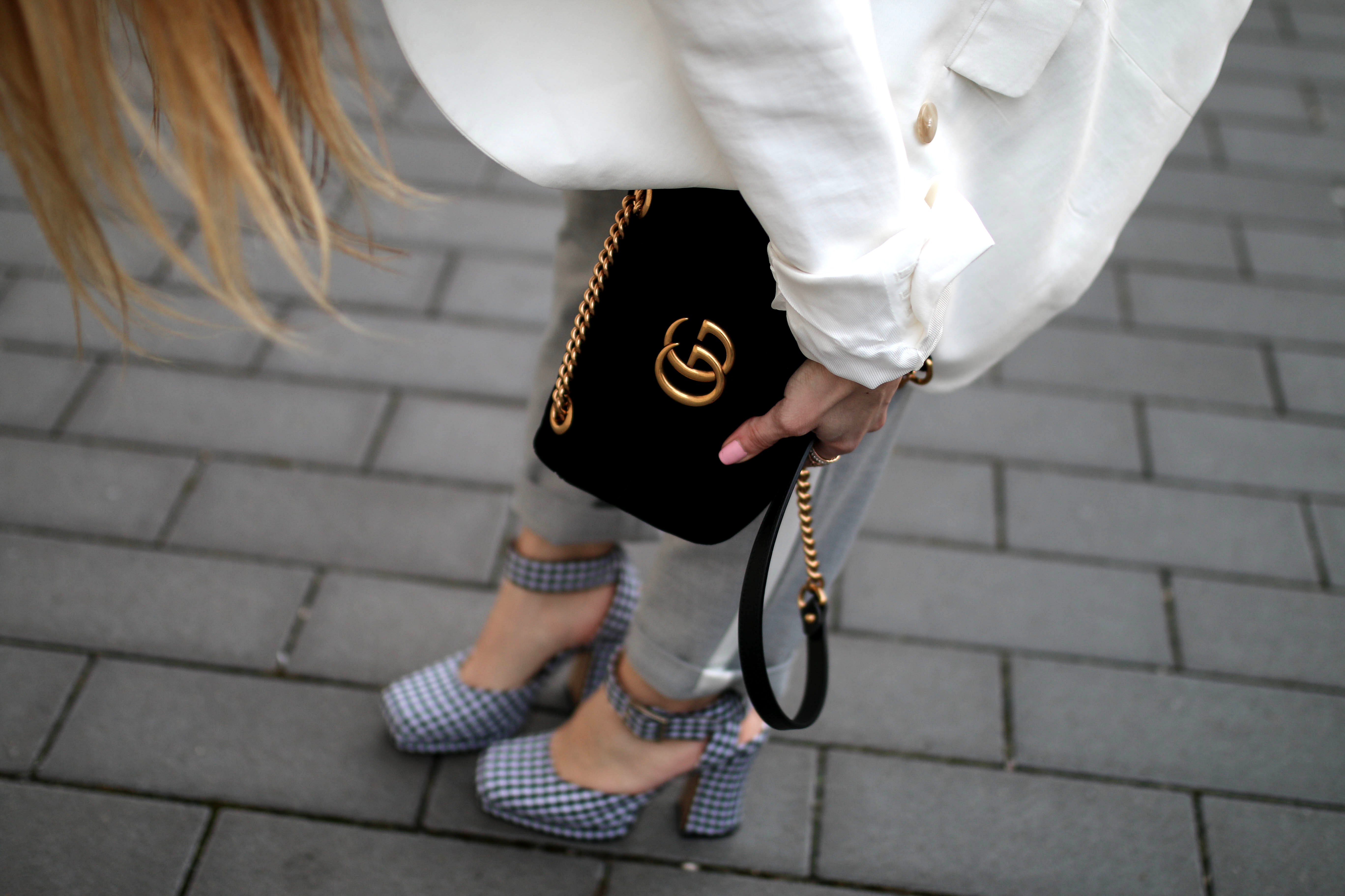 track pants trend vichy check pumps gucci marmont bag
