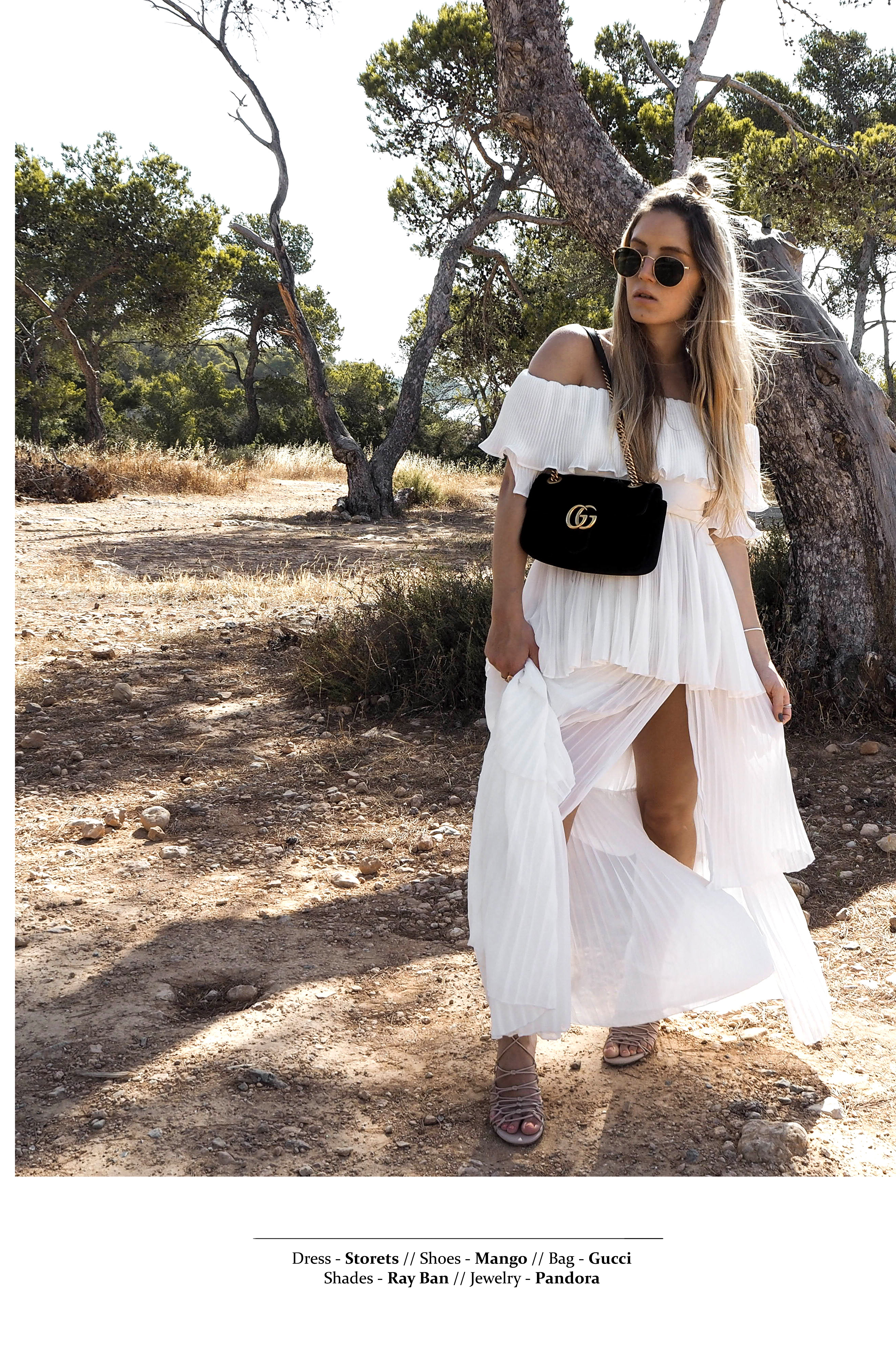 White Summer Dress Editorial Photoshoot Ibiza Sa Caleta Fashionblog ibiza beautiful bay