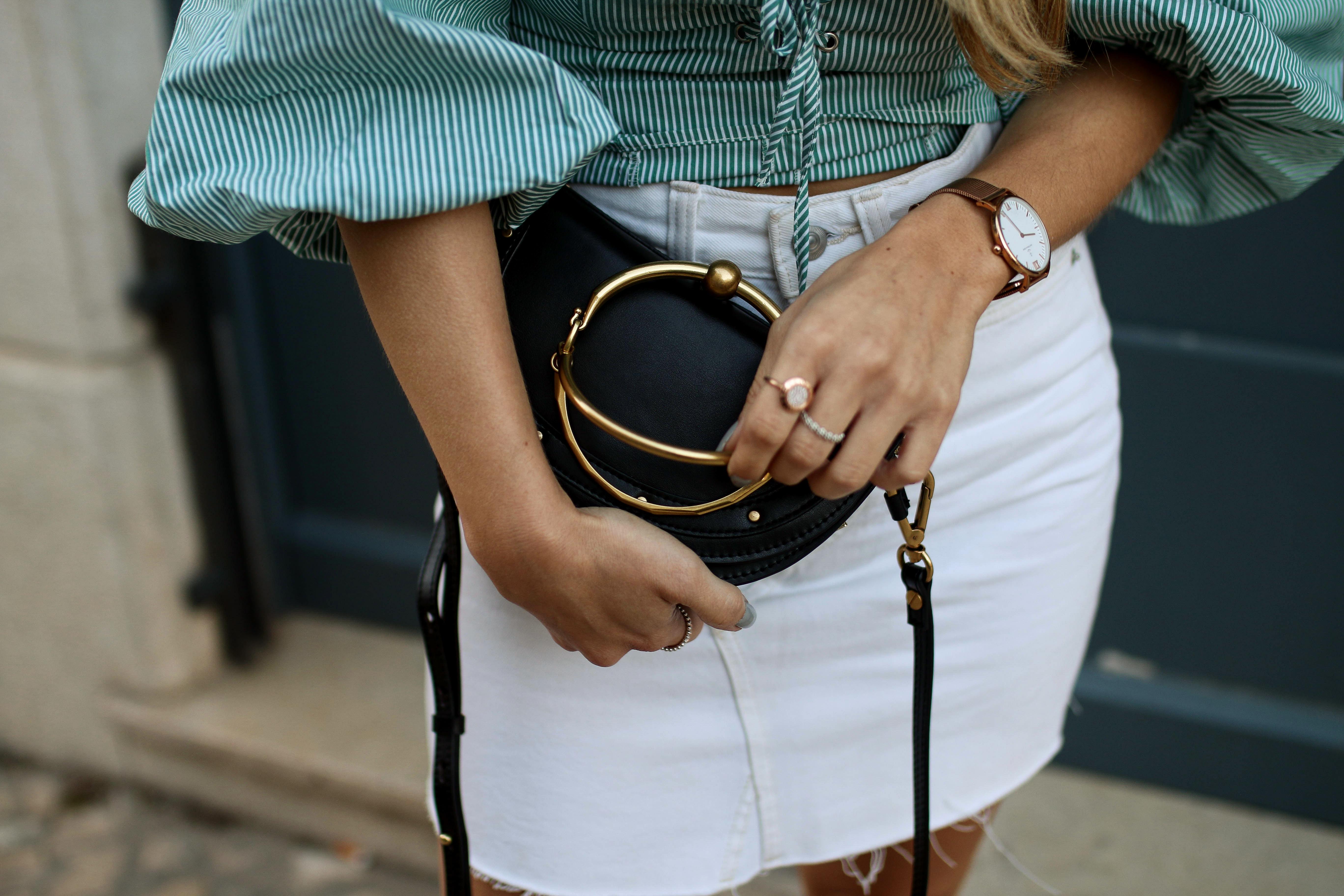 baker boy hat fashion blog off shoulder blouse chloe bag streetstyle