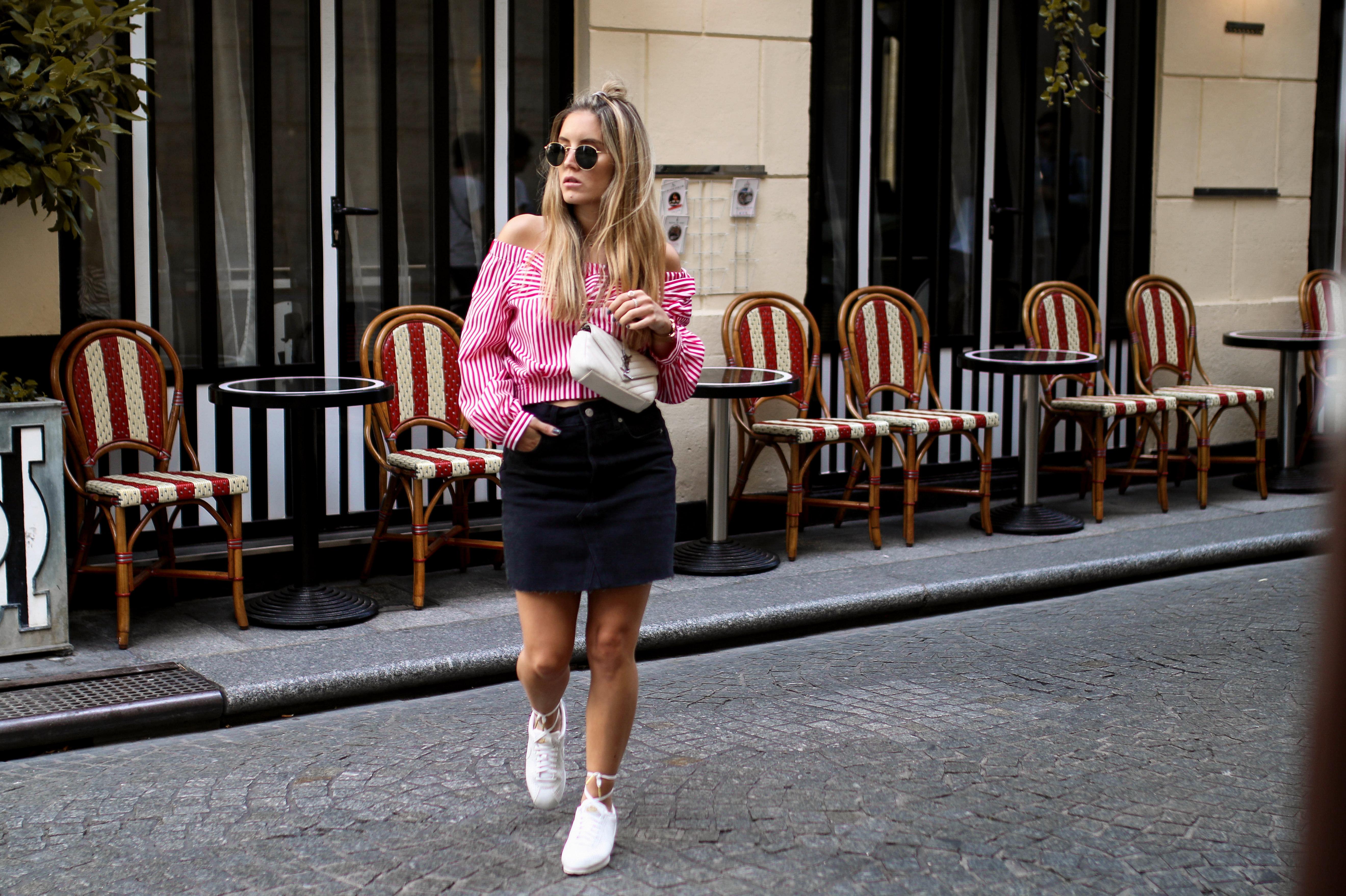 timeless design 0d4c0 303c0 nike cortez sneaker streetstyle paris fashion blog outfit inspiration saint  laurent bag lace up sneakers