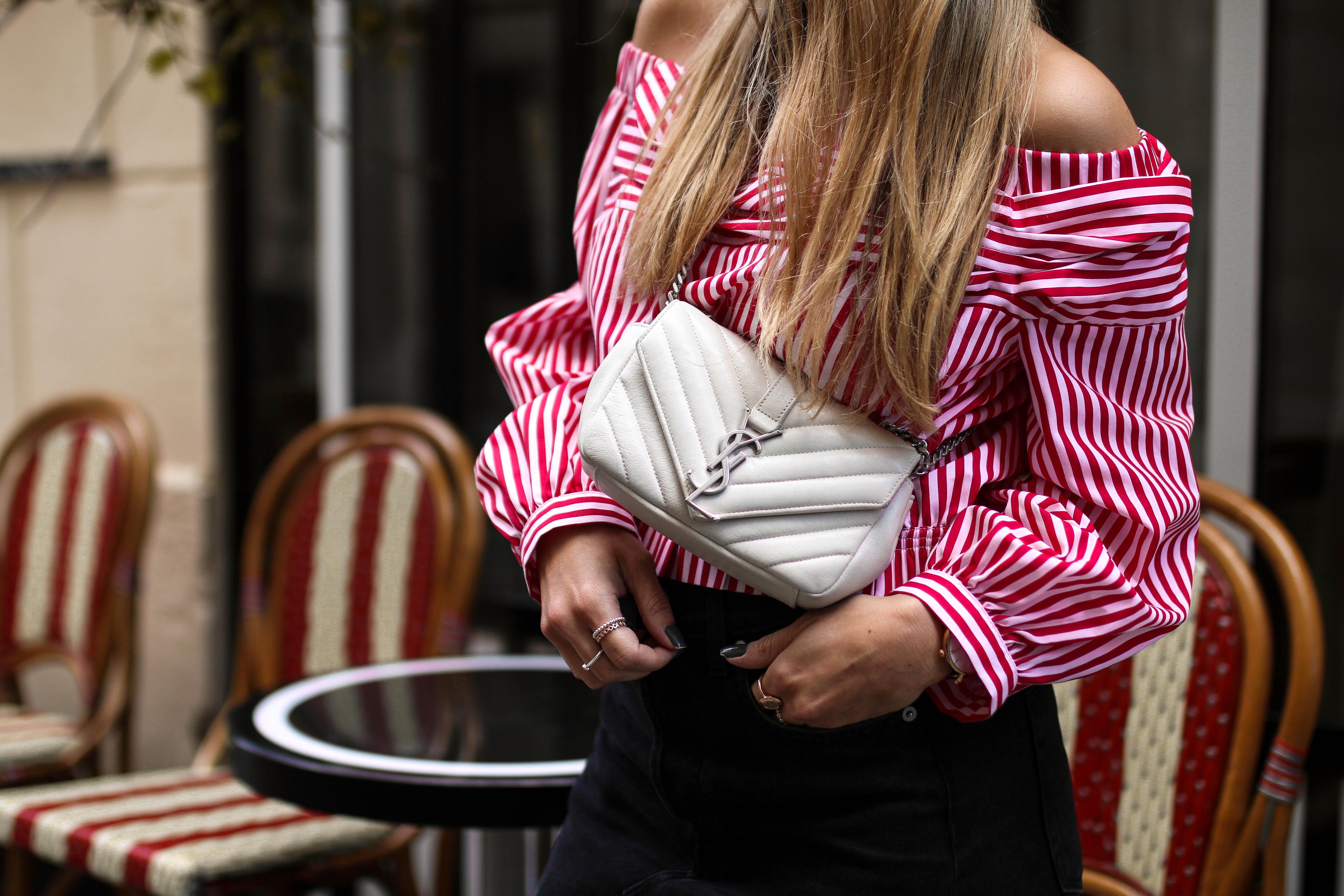 paris streetstyle saint laurent monogramme bag ysl bag off shoulder pinterest tumblr